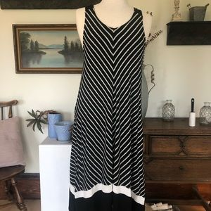 DKNY Sleeveless Striped V Neck Casual Dress Size M